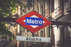 Atocha Metro Station Sign in Madrid Spain Stock Images