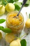 Atolamento da pera em um frasco de vidro e em umas frutas frescas com leav Fotos de Stock Royalty Free