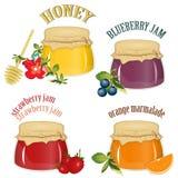 Atolamento e mel isolados no fundo branco ilustração royalty free