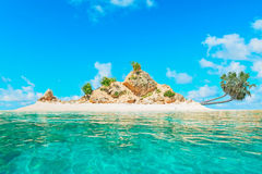 Atoll with palms Royalty Free Stock Images