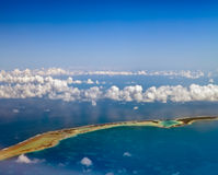 The atoll ring in ocean.Polynesia. Stock Images