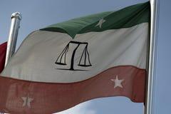Atollgerechtigkeits-Hallenflagge Guraidhoo Malediven männliche stockfotografie