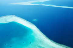 Atolls and islands in Maldives from aerial view Royalty Free Stock Image