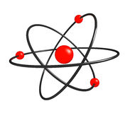 Atom. Red atom isolated on white Stock Photography