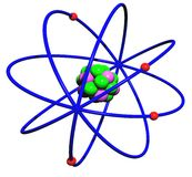 Atom. Colorful 3D atom with protons, neutrons and electrons on isolated white background Royalty Free Stock Photography