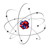 Atom. Illustration of an atom with electrons in orbits Stock Photo