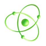 Atom. 3d Illustration of Green Atom Isolated on White Background Stock Image