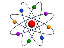 Atom. With whirling electrons against white background Stock Images