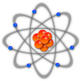 Atom. With protons and neutrons in the centre and electrons spinning around it Royalty Free Stock Photo