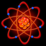 Atom. Representation of a chemical atom with neutrons and protons in the center and electrons spinning around it Stock Photos