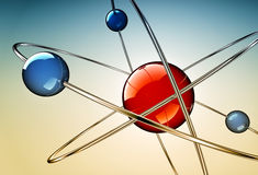Atom. High resolution 3D rendering of a atom concept royalty free illustration
