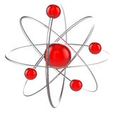 Atom 3d illustration. Isolated over ihwte Royalty Free Stock Image
