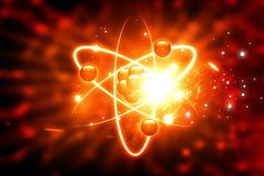 Atom on abstract background. 3d illustration Royalty Free Stock Images