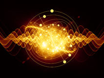 Atom. Abstract concept of atom and quantum waves illustrated with fractal elements vector illustration