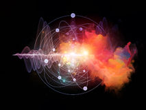 Atom. Abstract concept of atom and quantum waves illustrated with fractal elements Stock Photography