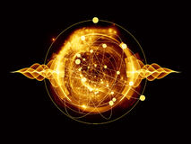 Atom. Abstract concept of atom and quantum waves illustrated with fractal elements Stock Images