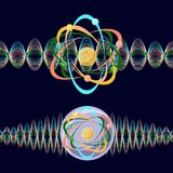 Atom as a particle and wave. Royalty Free Stock Photos