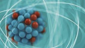 Atom. Illustration over blue background Royalty Free Stock Photos