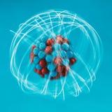 Atom. Illustration over blue background Royalty Free Stock Photography