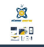 Atom atomic energy logo icon Stock Photos