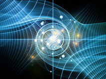 Atom Background. Atom Within series. Interplay of electron orbits and fractal pattern on the subject of science and technology Royalty Free Stock Photos