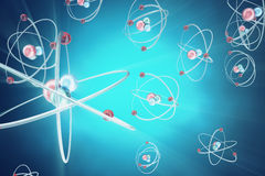 Atom background, shining nuclear model atoms and electrons. Physics concept. 3d rendering. Atom background, shining nuclear model atoms and electrons. Physics stock illustration