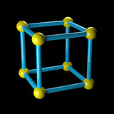 Atom on black. Science crystal structure. 3d modeling and rendering Stock Photos