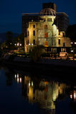 Atom Bomb Dome. The Atomic Bomb Dome by night, along the river in Hiroshima, Japan Stock Images