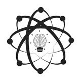 atom with brain icon Royalty Free Stock Photo