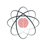 atom with brain icon Royalty Free Stock Images