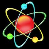 Atom color - black background stock image