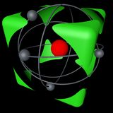Atom cube. The concept of safety of nuclear energy, color, black background. 3d rendering Stock Illustration