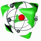Atom cube. The concept of safety of nuclear energy, color, white background. 3d rendering Vector Illustration