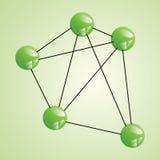 Atom część na zielonym backgorund. Zdjęcie Stock