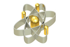 Atom, 3D rendering. On white background Royalty Free Stock Images