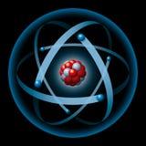 Atom, das Kern und Elektronen hat Stockbild
