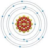 Atom des Argons (instabiles Isotop) auf einem weißen Hintergrund Stockfotografie