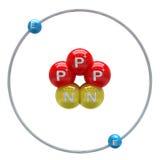 Atom des Heliums (instabiles Isotop) auf weißem Hintergrund Stockbild