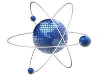 Atom Earth. Earth globe like an atom - 3d render Stock Photography