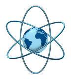 Atom earth. One 3d render of the atom symbol with a globe in the middle Stock Illustration