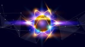 Atom - ein symbolisches Bild eines Elementarteilchens stockbild