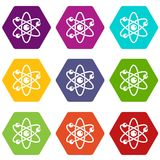 Atom with electrons icon set color hexahedron. Atom with electrons icon set many color hexahedron isolated on white vector illustration Stock Image