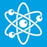 Atom with electrons icon white. Isolated on blue background vector illustration Royalty Free Stock Image
