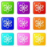Atom with electrons icons 9 set. Atom with electrons icons of 9 color set isolated vector illustration Stock Image