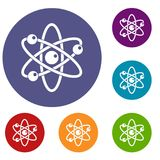 Atom with electrons icons set. In flat circle red, blue and green color for web Stock Images