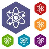 Atom with electrons icons set hexagon. Isolated vector illustration Stock Photography