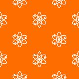 Atom with electrons pattern seamless. Atom with electrons pattern repeat seamless in orange color for any design. Vector geometric illustration Stock Photo