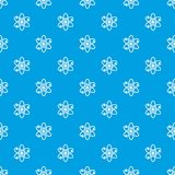 Atom with electrons pattern seamless blue. Atom with electrons pattern repeat seamless in blue color for any design. Vector geometric illustration Royalty Free Stock Photos