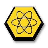 Atom Element Symbol giallo e nero Fotografia Stock Libera da Diritti