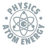 Atom energy logo, simple gray style. Atom energy logo. Simple illustration of atom energy vector logo for web Stock Photo